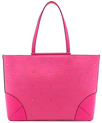 price tracking for mcm claudia studded shopper handbag tote large pink msrp 850 nwt price. Black Bedroom Furniture Sets. Home Design Ideas
