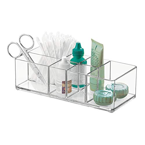 Clear Divided - InterDesign Med+ Vanity Divided, Medication and Bathroom Accessory Organization, 7.1