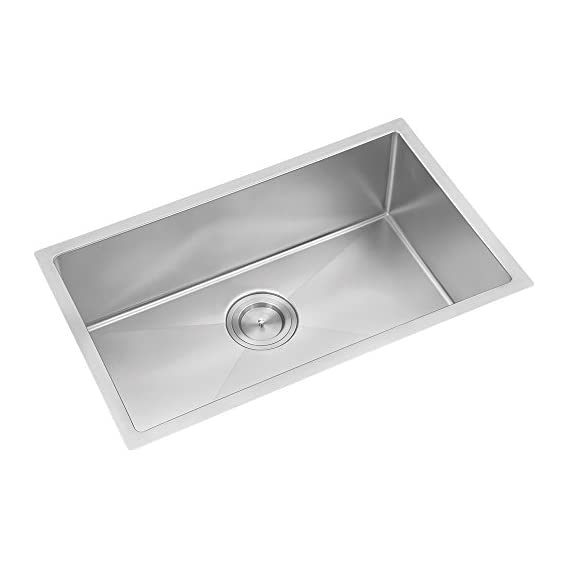 Anupam PS721SS, 304 Grade Stainless Steel Single Square Bowl Kitchen Sink (30 x 18 x 10 Inch), Satin Finish