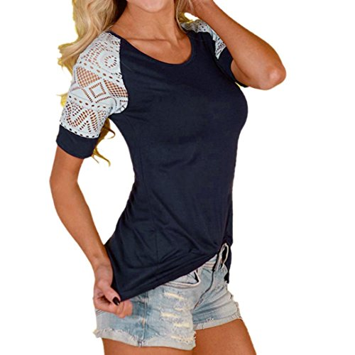 Han Shi Blouse, Women Fashion Summer Lace Patchwork Short Sleeve Tops Shirts (Deep Blue, XS)