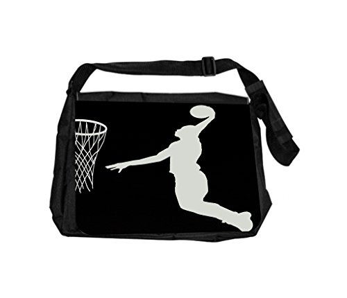 Basketball Game Silhouette Rosie Parker Inc. TM Laptop Messenger Bag and Small Case for Wire Accessories Set by Rosie Parker Inc.