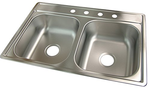 Kindred FDS704NB Double Bowl Stainless Steel 33x22in. Topmount Sink