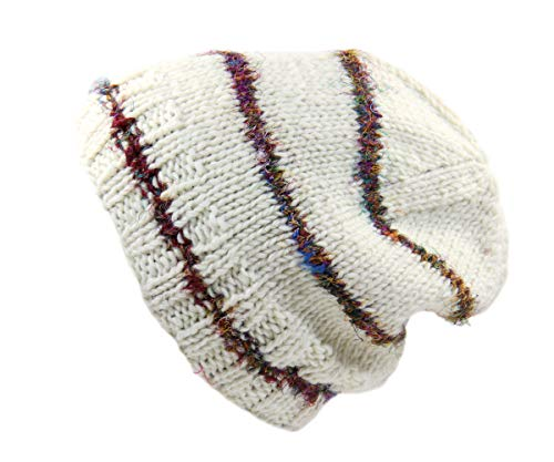 Rising Int'l Nepal Hand Knit Wool Beanie with Recycled Silk