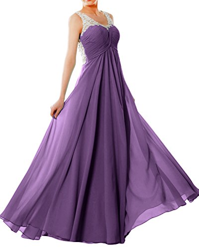 Formal Lace V Straps Women Long EveningBall Chiffon Neck Violett Dress MACloth Prom Gown XHz1qn