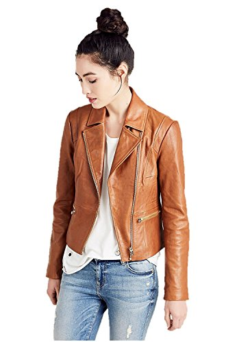 True Religion Women's Leather Moto Jacket In Cognac