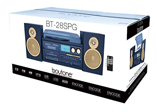 Boytone BT-28SPG 3-Speed Bluetooth Turntable System Front Loading CD//MP3//Cassette Player SD Slot Wooden Speakers USB Aux 110//220 Volt Headphone Jack AM//FM Stereo Radio Gold Limited Edition