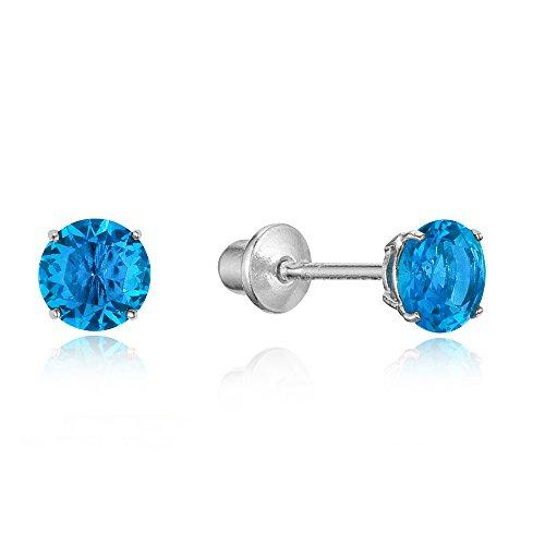 925 Sterling Silver Rhodium Plated 4mm Cubic Zirconia Stud Screwback Baby Girls Earrings (Baby Earrings Birthstones March)