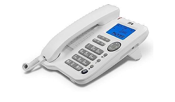 Teléfono fijo con identificador de llamadas y manos libres: Amazon.es: Electrónica