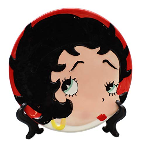 (Betty Boop Painted Face Red Colored Decorative Ceramic Plate w/Stand )