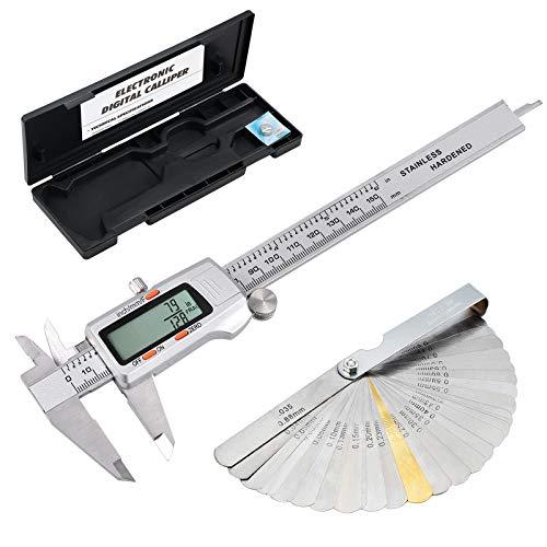 - eSynic Digital Vernier Caliper + Feeler Gauge 150mm/6Inch Stainless Steel Body Electronic Caliper Fractions/Inch/Metric Conversion Measuring Tool for Length Width Depth Inner Diameter Outer Diameter