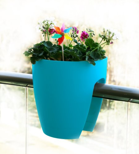 Greenbo Deck Rail Planter Box with Drainage trays, round 12-Inch, Color Turquoise - set of 2