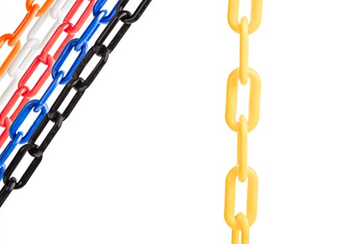 US Weight Chainboss Yellow Plastic Safety Chain with Sun Shield UV Resistant Technology - 100 ft