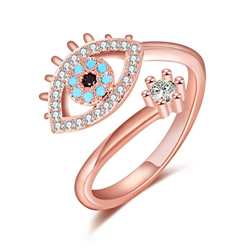 Qamra Blue Evil Eye Protection Ring Cubic Zirconia Pink Rose Gold Tone Plated Adjustable Diamond Rings for Women