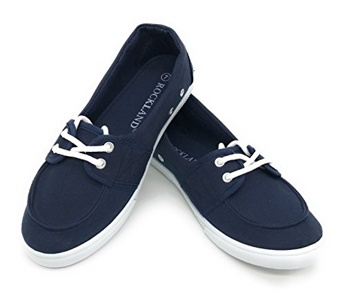 Gym Deck (EASY21 Women Canvas Round Toe Slip on Flat Sneaker Oxford Boat Shoe,Navy,Size 7)