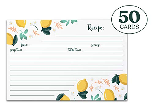 Jot & Mark Recipe Cards | Lemon Zest Print Double Sided 4x6 Inch Set of 50 (Best Box Stuffing Recipe)