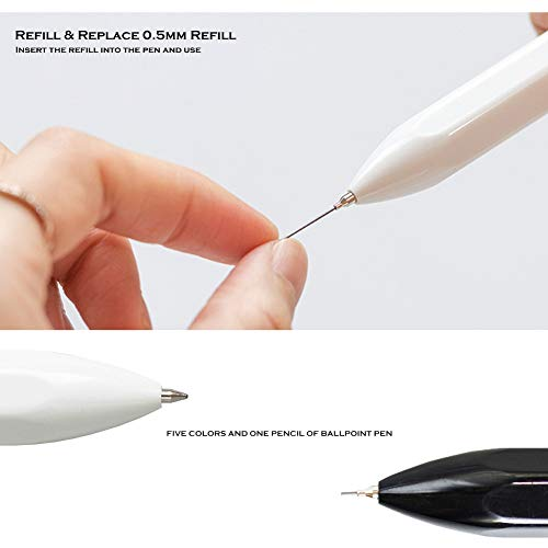 HeTaoCat 5 in 1 Multifunctional Pens, Multi Color Pen, 5 Color Ballpoint Pen and 0.5 mm Mechanical Pencil in One (White)