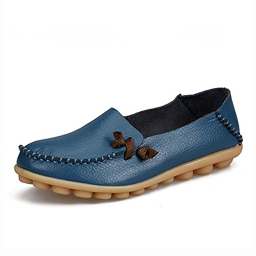 Casual Slippers Moccasin Slip Driving Light Genuine on Blue Flat Women's Shoes Indoor Loafers IRuis Leather wXx1Ivq17