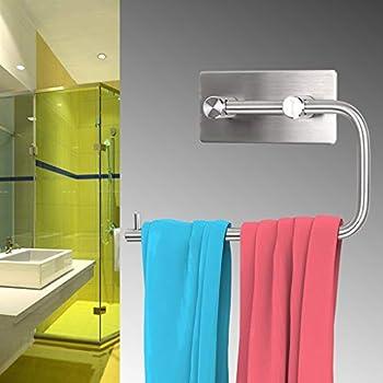 Sumnacon Stainless Steel Toilet Roll Paper Holder 3M Self Adhesive, Rustproof Bathroom Kitchen Tissue Holder Towel Hanger Hook Wall Mount (Brushed Nickel)