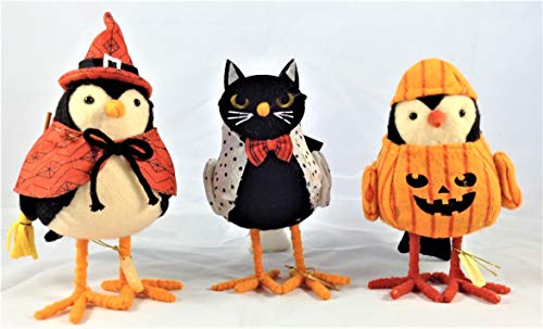 Featherly Friends Hyde and Eek Halloween Fabric Bird Trio: Whiskers, Brewster & Patches Bundle ()