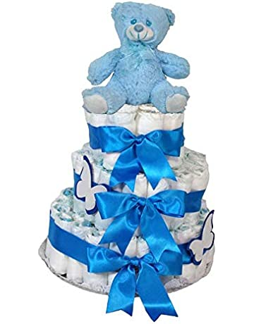 Tarta de pañales Dodot - Oso 3 pisos azul - Mil Cestas ad76f7b59f259