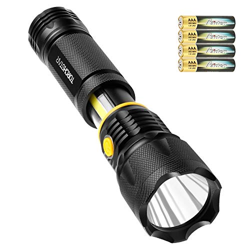 TORCHSTAR Professional Cree LED Flashlight, High Lumen Aluminum Alloy Handheld Body, Water Resistant, Magnetic Base, Battery Operated, Hiking Camping Hunting Search Survival Emergency Torch