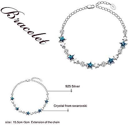 "925 Sterling Silver Lucky Star Tennis Bracelet Link Blue Crystals from Swarovski Gift Jewelry for Girls 6.2/""+2/"" CRYSLOVE Star Bracelet for Women"