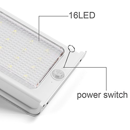 Lámpara Solar LED GRDE [3 Packs] Aplique 16 LED de Pared con Panel Solar, Luz Solar Aplique de Exterior con Sensor de Movimiento, Impermeabilidad y ...