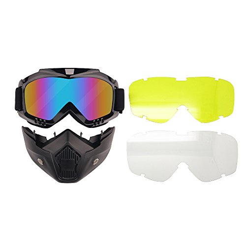 Motorcycle Goggles Mask Detachable 3LS Kit Lens Exchangeable Harley Style Protect Padding Helmet Sunglasses Road Riding UV Motorbike Glasses (REVO 3LS - Sunglass Revo
