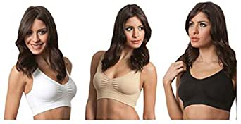 WELVT Women's Yoga Bra 3 in Set Summer Pack with Removable Pad White & Black & Nude M