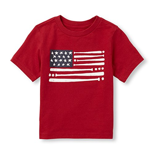 1989 Place Baby Boys Graphic T-Shirt (6-9 Months, Baseball Flag (Red))