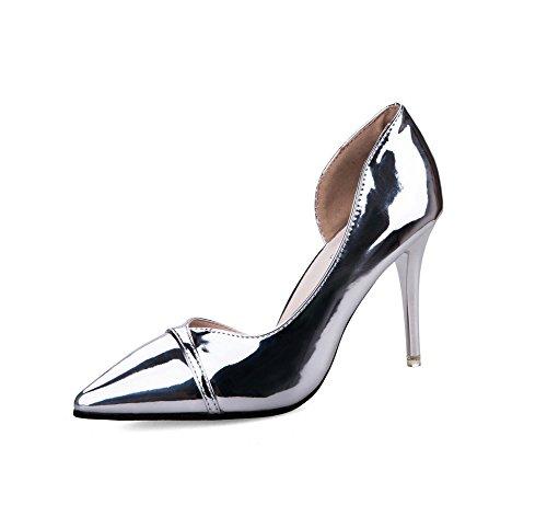 AdeeSu Womens Spikes Stilettos Pointed-Toe No-Closure Urethane Pumps Shoes Silver TUPtN