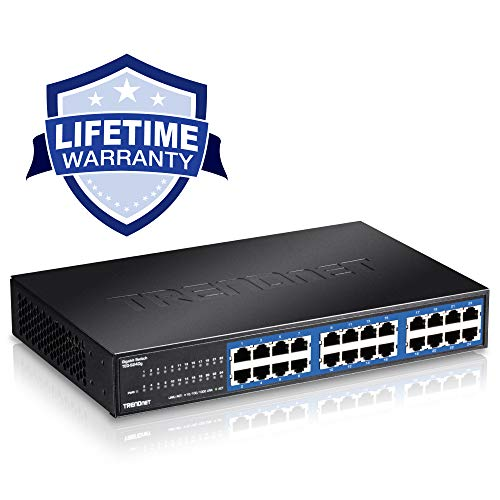TRENDnet 24-Port Unmanaged Gigabit 10/100/1000 Mbps GREENnet Desktop Metal Housing Switch, 48 Gbps Switching Fabric, Lifetime Protection, TEG-S24DG