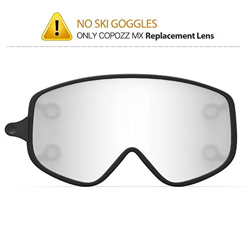 COPOZZ MX Ski Snow Snowboard Goggles Magnetic Interchangeable Lens, Triple Lens Anti Fog Frameless Skiing Goggles for Women Men Youth Girls Boys Snowboard Snowmobile Skiing (Silver Lens Only ()
