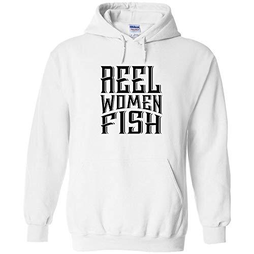 Reel Women Fish Black Logo Hoodie Fishing Pullover Fishing Sweatshirt Boating Kayaking Fishing Pole Real Women Fish
