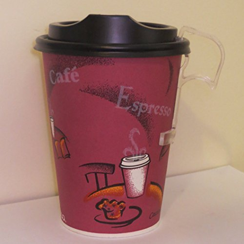 12 Oz. Solo Bistro Design Paper Coffee Cup with Black Dome Lids- 50 Sets - plus 5 plastic clip on (Personalized Ice Cream Bowls For Kids)