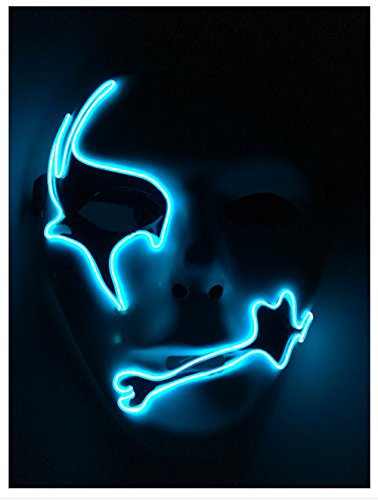[White EL Wire Halloween Cosplay Led Mask Light Up Mask for Festival Parties Christmas Gifts Birthday Party Gift Any] (Anonymous Man Costume)