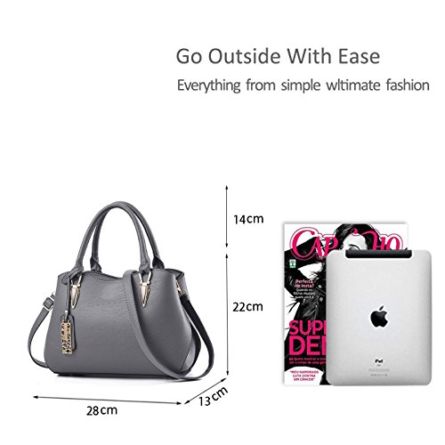 Ladies Women Portable Casual Shoulder Grey Handbag Messenger Bags Bag Zonlin for d1qwzdx