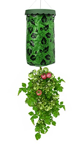 Beslands 1-Pack 3 Gallon Upside Down for Tomato Patio Grow Pot Hanging Summer Garden Planter Planting Bags (Green)