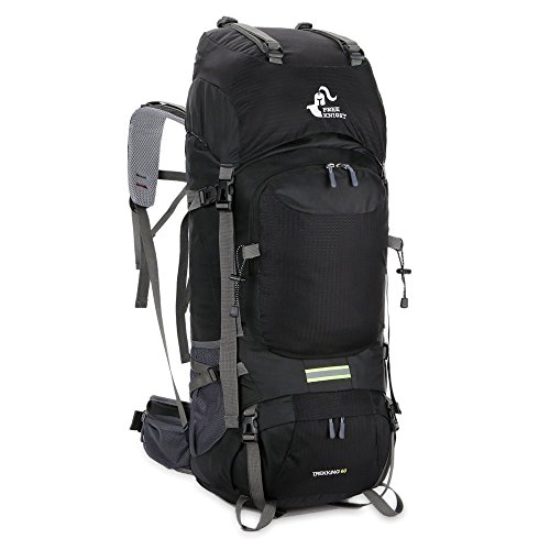 X-CAT NACATIN 60L Internal Frame Backpack Unisex Water Resistant Camping Hiking Backpack (Black, 60L)
