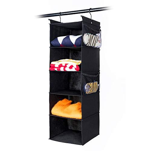 (MAX Houser 5 Shelf Hanging Closet Organizer,Space Saver, Cloth Hanging Shelves with (4) Side Pockets,Foldable, Black)
