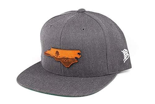 Blue Ridge Leather (Branded Bills North Carolina 'The Blue Ridge' Leather Patch Snapback Hat - OSFA/Charcoal)