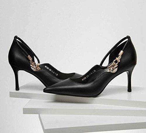 à Escarpins Profondes Stilettos Hauts Pointu De Peu Chaussures Talons Cuir Bout Talons Black Des Dames Femmes La Hauts Mode En wxqxXgUR