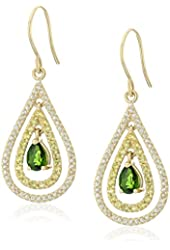 10k Yellow Gold Pear Shaped Chrome Diopside with Genuine Yellow and White Sapphire Accents Drop Earrings