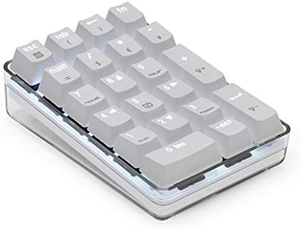 Teclado numérico mecánico USB Little KANGAROO con cable y retroiluminación LED azul con 21 teclas para ordenador de sobremesa o portátil, color blanco ...