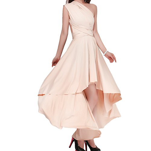 Women's Flowy Transformer Convertible Multi Way Wrap Long Prom Maxi Dress V-Neck Hight Low Wedding Bridesmaid Evening Party Grecian Dresses Backless Halter Formal Cocktail Gown Apricot Hi Low L