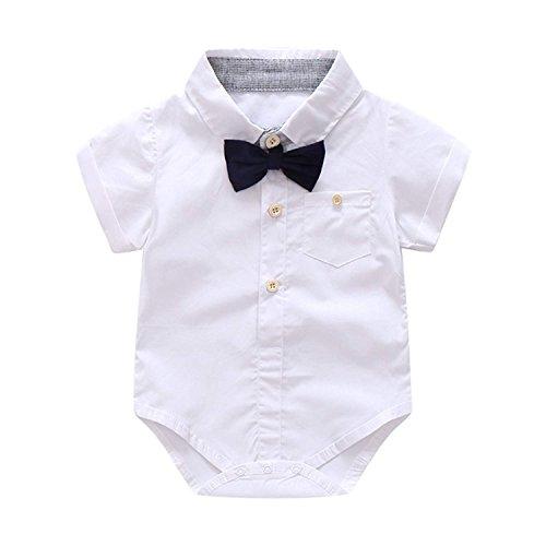 2ebcebab8 KiKibaby Baby Boys Gentleman White Outfits Suits, Infant Short Sleeve Shirt+Bib  Pants+
