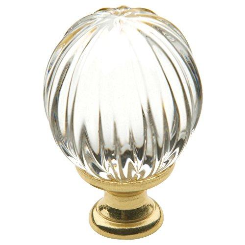 Baldwin Brass Round Pull - Baldwin Estate 4304.030 Swarovski Crystal Round Cabinet Knob in Polished Brass, 1.19