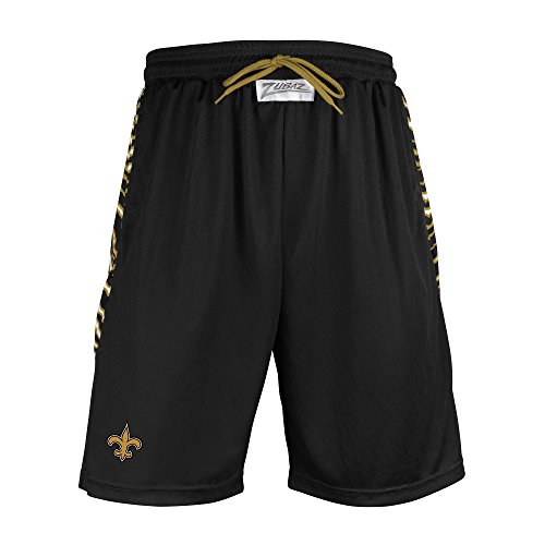 NFL New Orleans Saints Men's Zubaz Zebra Print Accent Team Logo Active Shorts, Medium, Black
