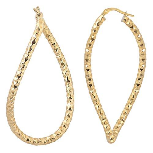10k Yellow Gold Diamond-Cut Large Twisted Elongated Hoop ()