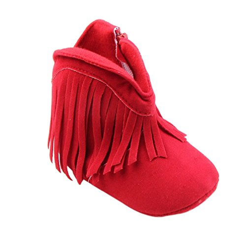 Binmer(TM) Infant Newborn Baby Girl Toddler Shoes Soft Sole Boots Prewalker Tassel (12~18Month, Red)